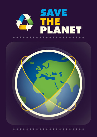 Ecology poster with planet Earth.