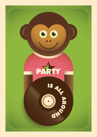 Party poster with comic monkey.