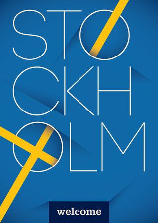 Stockholm typographic poster design. Illustration