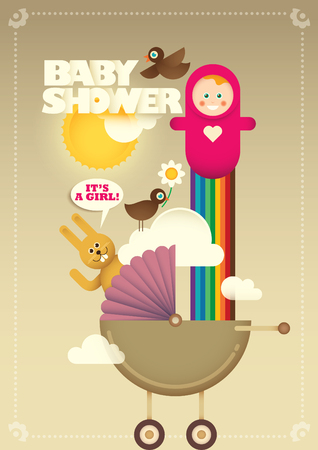Creative baby shower poster in color.