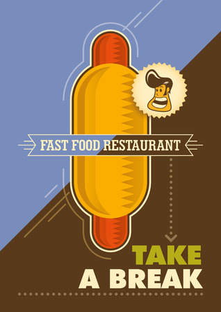 Fast food poster with hot dog. Ilustrace