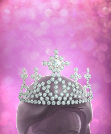 diamond head: The winner is the person who has beautiful possession worth of the diamonds crown  Stock Photo