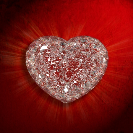 High quality 3d render with HDRI lighting of Diamonds heart shaped gemstone isolated on red velvet background  photo