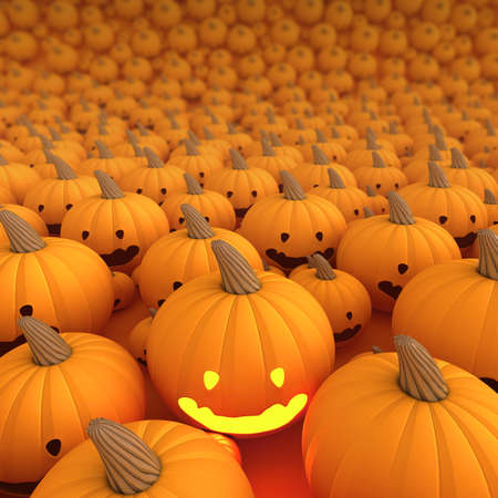 Halloween Pumpkin a lot in background, Only one light on 3d render