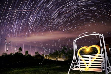 time lapse: Love Heart and Star trails