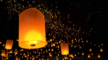 beautiful Lanterns flying in night sky