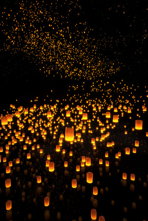 yeepeng: beautiful Lanterns flying in night sky