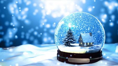 크리스마스 스노우 글로브 눈송이 확대 스톡 콘텐츠