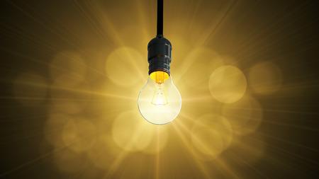 Light bulb swing glow rising
