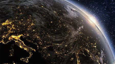 planeta verde: Zona Planeta Tierra Europa, con la noche y el amanecer. Muy detallado. Foto de archivo