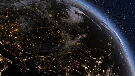 Highly detailed. 3d Render using satellite imagery (NASA). Planet earth Europe zone with night time and sunrise Foto de archivo