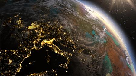 非常に詳細な。3 d レンダリングを使用して衛星画像惑星地球ヨーロッパ ゾーン夜の時間と日の出