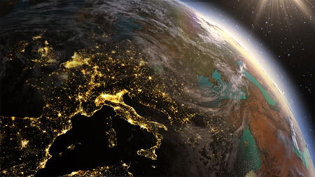 zoom earth: Highly detailed. 3d Render using satellite imagery    Planet earth Europe zone with night time and sunrise