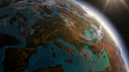 zoom earth: Highly detailed. 3d Render using satellite imagery  . Planet earth Europe zone with night time and sunrise