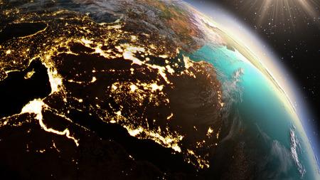 通信: 惑星地球西アジアのゾーン。 写真素材