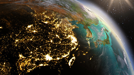 zoom earth: Planet Earth night and sunrise. Stock Photo