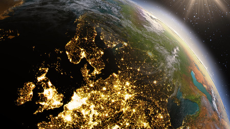 futuristic nature: Planet Earth Europe zone. Stock Photo