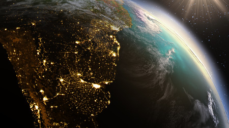 Planet Earth South America zone using satellite imagery NASA