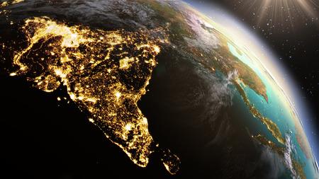 Planeet Aarde Azië zone. Elementen van deze afbeelding geleverd door NASA