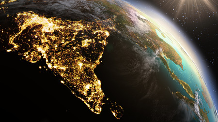 map of india: Planet Earth Asia zone. Elements of this image furnished by NASA