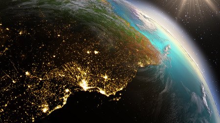 Planet Earth South America zone. Elements of this image furnished by