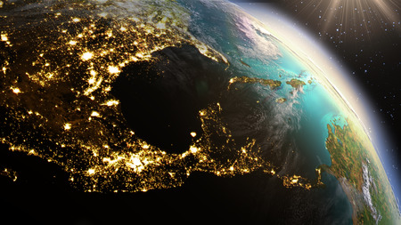 Planet Earth Central America zone. Elements of this image furnished by NASA