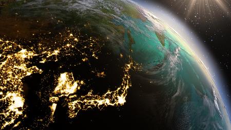 지구 동아시아 지역. NASA가 제공 한이 이미지의 요소