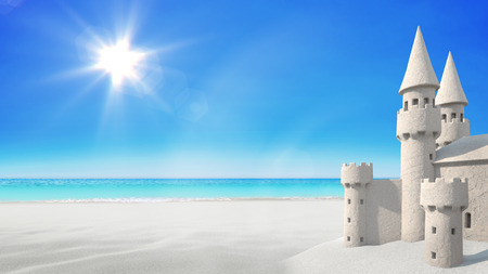 Sandcastle beach on bright blue sky background. 3d rendering Archivio Fotografico