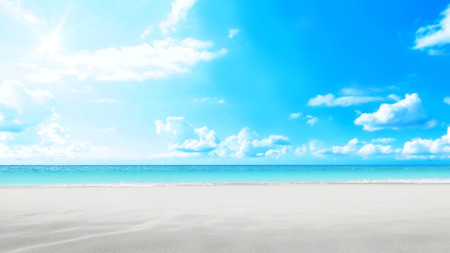 Sandcastle beach on bright blue sky background Banque d'images