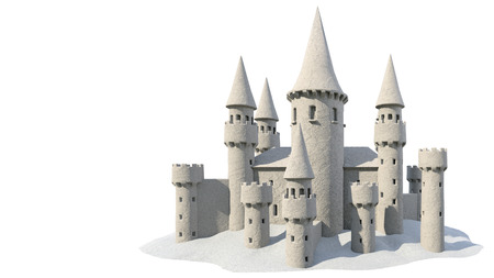sand castle isolated on white background. 3d rendering Archivio Fotografico