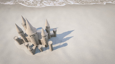 sand castle on beach background. 3d rendering