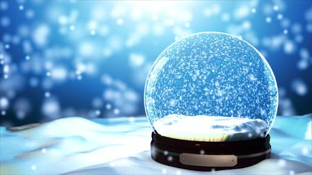 크리스마스 스노우 글로브 눈송이 클로즈업