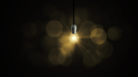 Light bulb swing glow rising, Banque d'images
