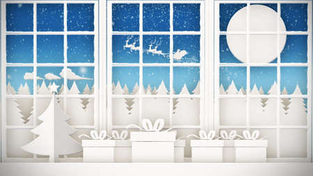 Santa Claus flying sky moon background crossing forest. Merry Christmas! Magic gift box on the sill. Windows decorated on Christmas. Paper style.
