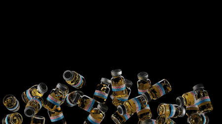 Covid-19 Vaccine bottles rotation in the air. close-up liquid detail in bottles 3d render
