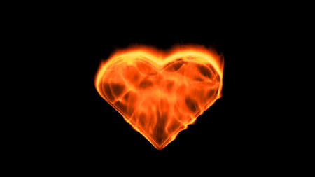 Flaming heart on the black background. Love feeling concept. 3d rendering. Imagens