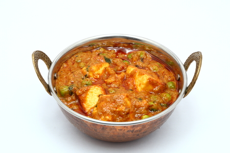 paneer: Peas and cottage cheese vegetarian curry dish.
