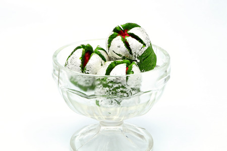 gulab: Delicious Indian sweet Anarkali in a glass bowl Stock Photo
