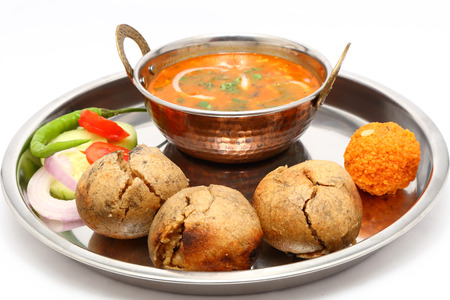 Indian Rajasthani traditional Dal Bati thali Stock Photo