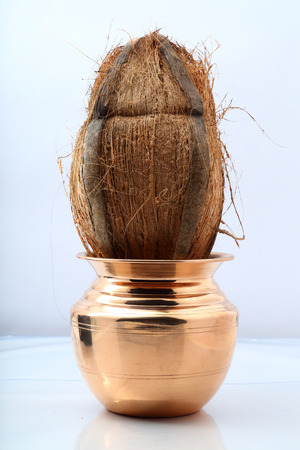 Copper Pot or Kalash with Coconut photo
