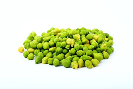 Fresh Green Chickpeas or Chick peas isolated on white background