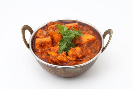 INDIAN STYLE COTTAGE CHEESE VEGETARIAN CURRY DISH. Kadai Paneer - traditional Indian food Stock Photo