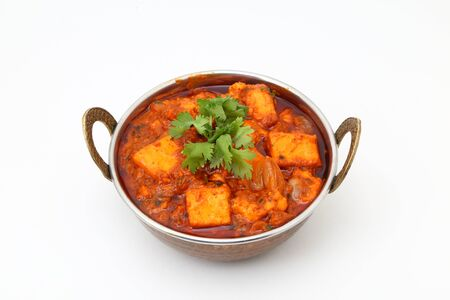 INDIAN STYLE COTTAGE CHEESE VEGETARIAN CURRY DISH. Kadai Paneer - traditional Indian food Reklamní fotografie