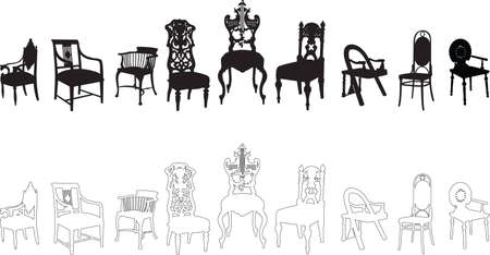 antique chair: antique chairs Illustration