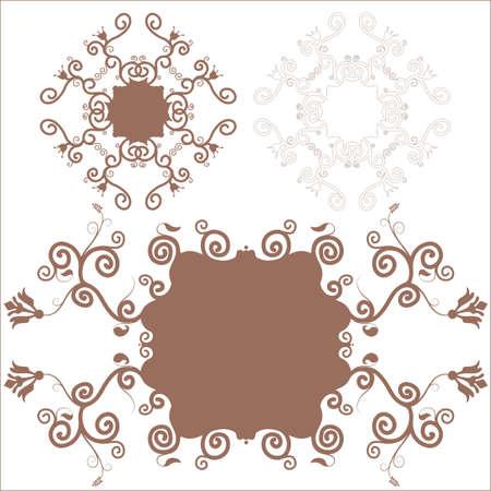 3 brown decorative floral frame Illustration