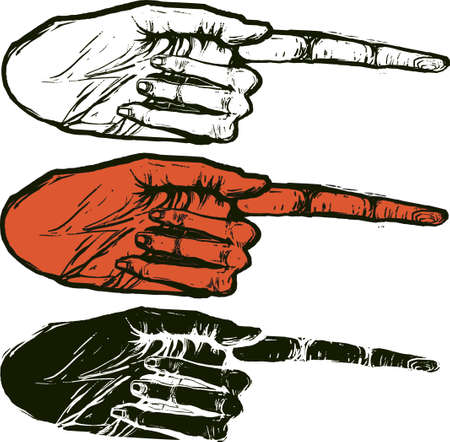 hand Index way color red, black and white