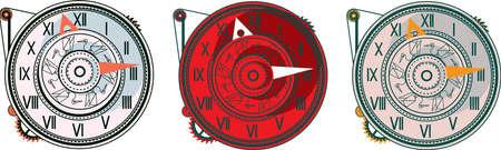 Set with 3 steampunk clock  Illustration