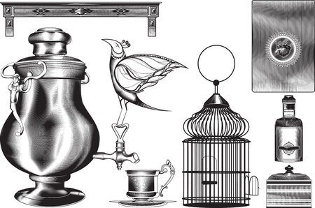set with bird and vintage shading kitchen accessories