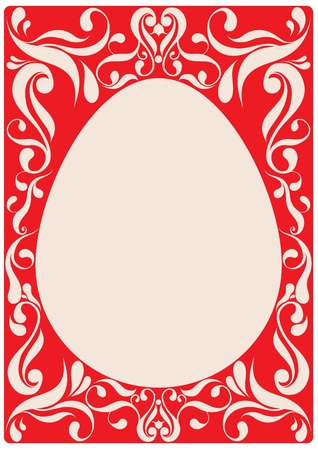 egg on red background with vintage ornaments