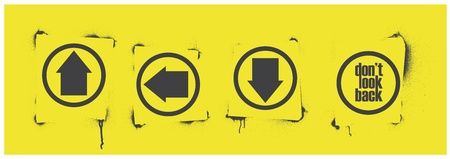 Vector stencil arrows set for way and word  Illustration